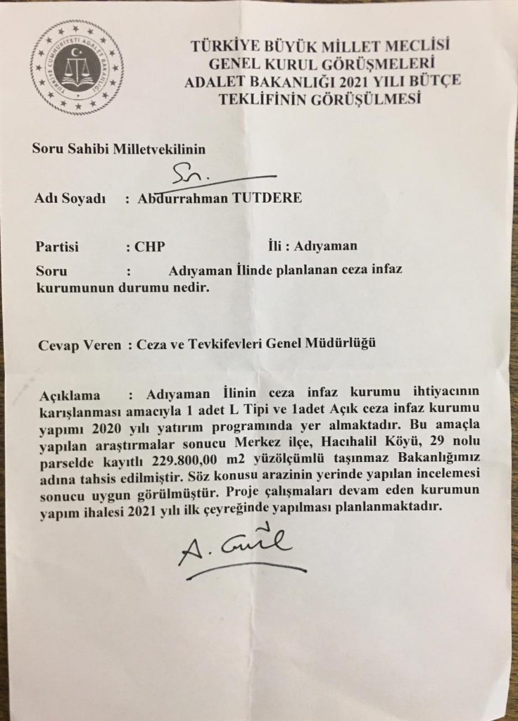 milletvekili tutdere adiyaman kapali cezaevini sordu adalet bakani gul yapacagiz dedi haberadiyaman com tr